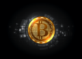 Futuristic digital background with bitcoin. Technology network concept.
