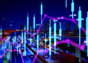 Financial technology concept. Stock chart. Fintech.