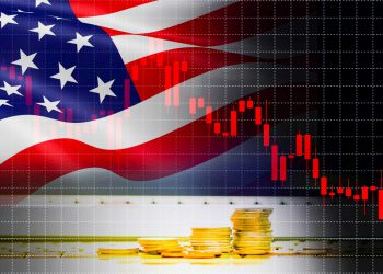 USA America flag candlestick graph background Stock market exchange analysis / indicator of changes graph chart business finance money investment