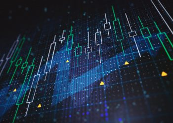 Abstract financial charts with upward arrow on a blue background. 3D Rendering