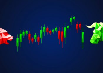 Forex trading concept. Stock market business infographics with silhouettes of bear, bull and candllestick chart. Vector illustration low poly style