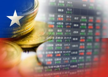 Stock market investment trading financial, coin and Chile flag or Forex for analyze profit finance business trend data background.