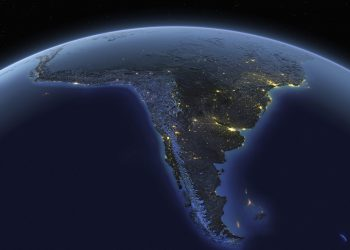 A detailed view of the earth from space with night lights