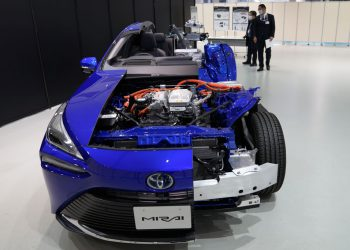 A cutaway model of the Toyota Motor Corp. Mirai fuel cell electric vehicle (FCEV) during a media event at the company's showroom in Tokyo, Japan, on Wednesday, Dec. 9, 2020. The second generation of Toyota's hydrogen FCEV allows a 30% increase in it's driving range to around 650 km, according to the company. Photographer: Toru Hanai/Bloomberg via Getty Images