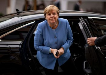 German Chancellor Angela Merkel arrives to attend the annual reception of the German Bishops in Berlin on September 27, 2021. (Photo by Fabian Sommer / POOL / AFP) (Photo by FABIAN SOMMER/POOL/AFP via Getty Images)