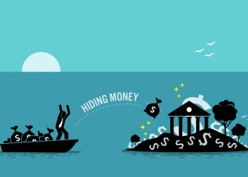 Vector illustration concept of money laundering, embezzlement, offshore banking to avoid tax, tax evasion, business crime, and illegal income.