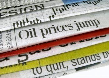 """Newspaper headline """"Oil prices jump"""""""
