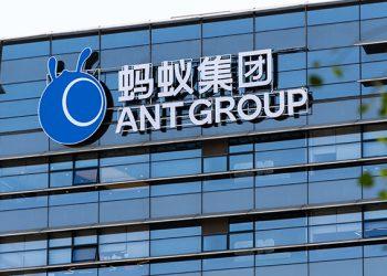 hangzhou/china-November 3 ,2020:ANT GROUP sign in hangzhou china